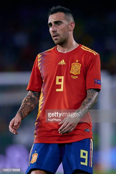 Paco Alcacer of Spain looks on during the UEFA Nations League A group four match between Spain and England at Benito Villamarin on October 15 2018 in...