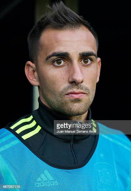 Paco Alcacer of Spain looks on prior to the start the Spain v Slovakia EURO 2016 Qualifier at Carlos Tartiere on September 5 2015 in Oviedo Spain