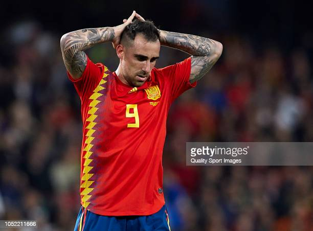 Paco Alcacer of Spain reacts during the UEFA Nations League A group four match between Spain and England at Estadio Benito Villamarin on October 15...