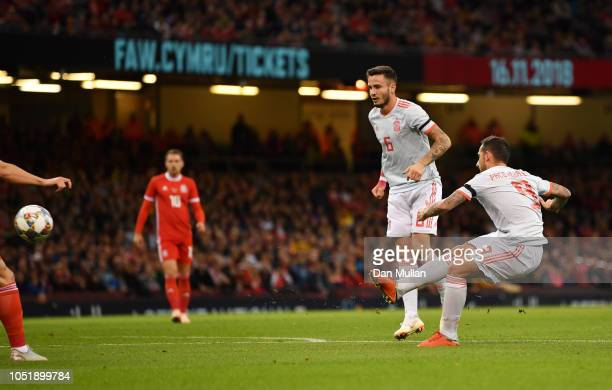 Paco Alcacer of Spain scores his team's first goal during the International Friendly match between Wales and Spain on October 11 2018 in Cardiff...
