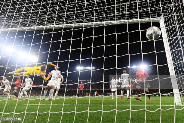 Paco Alcacer of Spain scores his team's first goal during the UEFA Nations League A group four match between Spain and England at Estadio Benito...