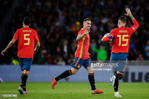 Paco Alcacer of Spain Sergio Ramos of Spain during the UEFA Nations league match between Spain v England at the Estadio Benito Villamarin on October...