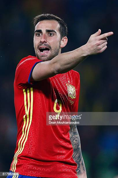 Paco Alcacer of Spain speaks to a team mate during the International Friendly match between Romania and Spain held at the Cluj Arena on March 27 2016...
