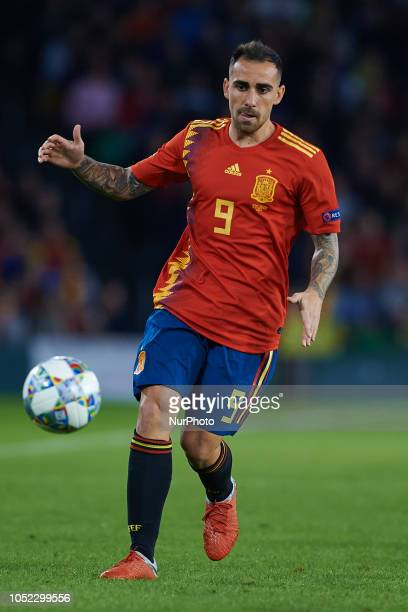 Paco Alcacer of Spain with the ball during the UEFA Nations League A football match between Spain and England at Benito Villamarin Stadium in Sevilla...