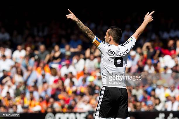 09 Paco Alcacer of Valencia CF during La Liga match between Valencia CF and Sevilla CF at Mestalla Stadium in Valencia on April 10 2016