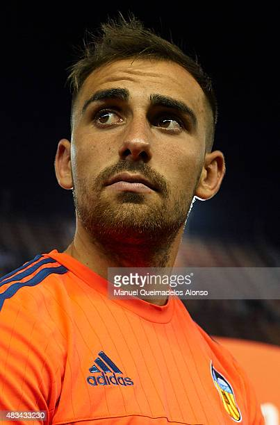 Paco Alcacer of Valencia looks after the preseason friendly match between Valencia CF and AS Roma at Estadio Mestalla on August 8 2015 in Valencia...
