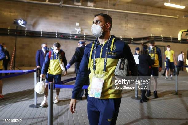 Paco Alcacer of Villarreal arrives at the stadium prior to the UEFA Europa League Final between Villarreal CF and Manchester United at Gdansk Arena...