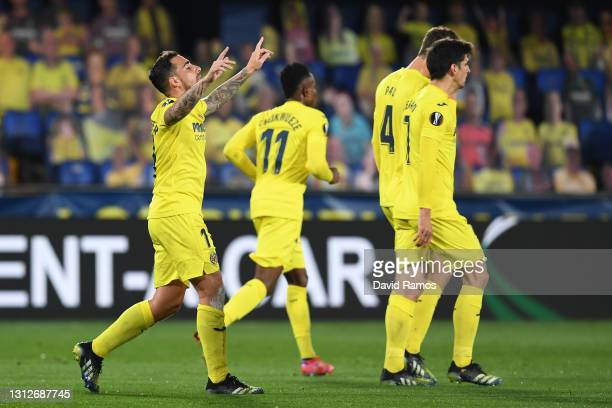 Paco Alcacer of Villarreal celebrates after scoring their team's first goal during the UEFA Europa League Quarter Final Second Leg match between...