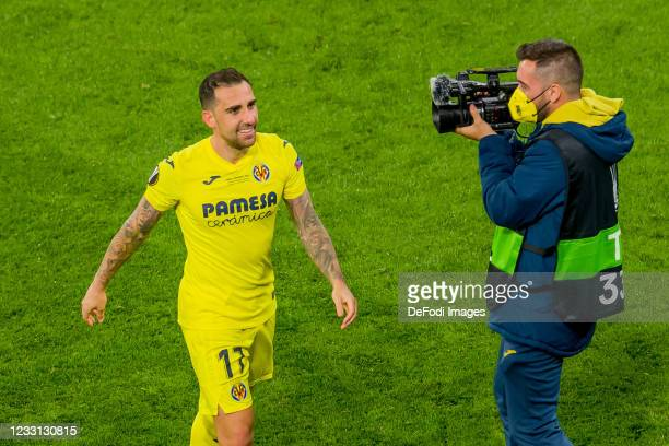 Paco Alcacer of Villarreal CF celebrate after winning the UEFA Europa League Final between Villarreal CF and Manchester United at Gdansk Arena on May...