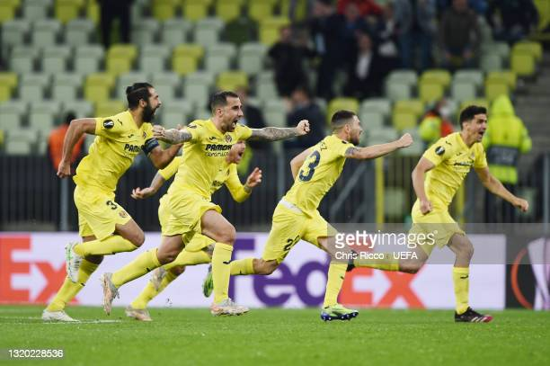 Paco Alcacer of Villarreal CF celebrates their side's victory after the UEFA Europa League Final between Villarreal CF and Manchester United at...