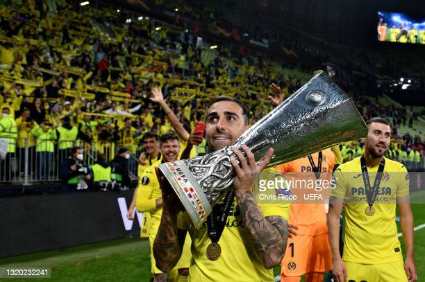 Paco Alcacer of Villarreal CF celebrates with the UEFA Europa League Trophy following the UEFA Europa League Final between Villarreal CF and...