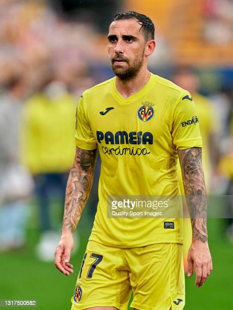 Paco Alcacer of Villarreal CF looks on at the end of the La Liga Santander match between Villarreal CF and RC Celta at Estadio de la Ceramica on May...