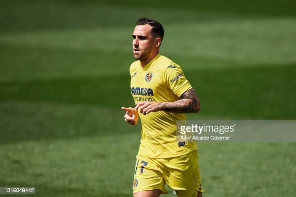 Paco Alcacer of Villarreal CF looks on during the La Liga Santander match between Villarreal CF and Getafe CF at Estadio de la Ceramica on May 02,...