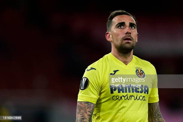 Paco Alcacer of Villarreal CF looks on during the UEFA Europa League Semi-final Second Leg match between Arsenal and Villarreal CF at Emirates...