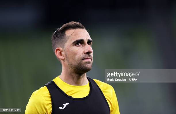 Paco Alcacer of Villarreal CF looks on during the Villarreal CF Training Session ahead of the UEFA Europa League Final between Villarreal CF and...