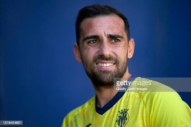 Paco Alcacer of Villarreal CF looks on prior to the La Liga Santander match between Villarreal CF and Sevilla FC at Estadio de la Ceramica on May 16,...