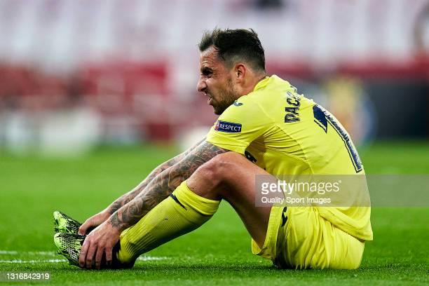 Paco Alcacer of Villarreal CF raects during the UEFA Europa League Semi-final Second Leg match between Arsenal and Villarreal CF at Emirates Stadium...