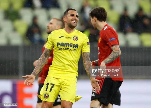 Paco Alcacer of Villarreal CF reacts after a missed chance during the UEFA Europa League Final between Villarreal CF and Manchester United at Gdansk...