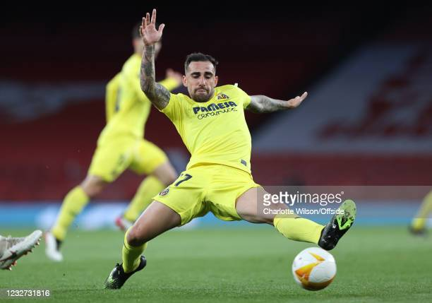 Paco Alcacer of Villarreal during the UEFA Europa League Semi-final Second Leg match between Arsenal and Villareal CF at Emirates Stadium on May 6,...