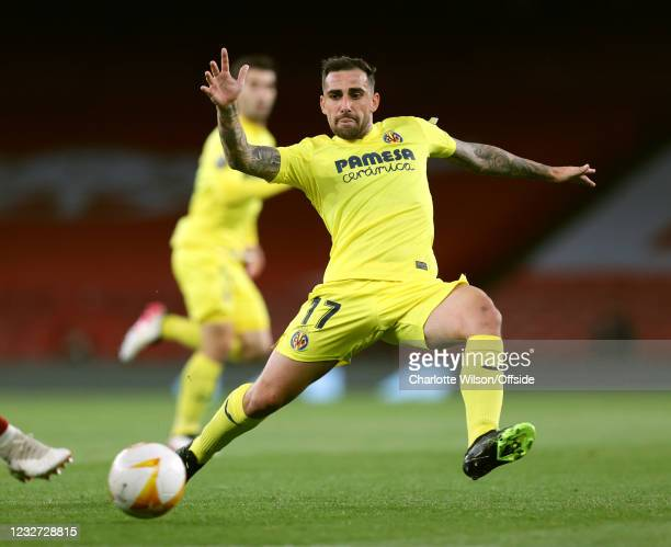 Paco Alcacer of Villarreal in action during the UEFA Europa League Semi-final Second Leg match between Arsenal and Villareal CF at Emirates Stadium...