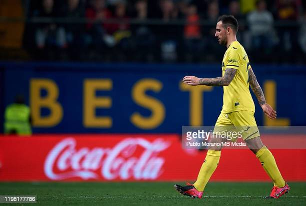 Paco Alcacer of Villarreal looks on during the Liga match between Villarreal CF and CA Osasuna at Estadio de la Ceramica on February 2 2020 in...