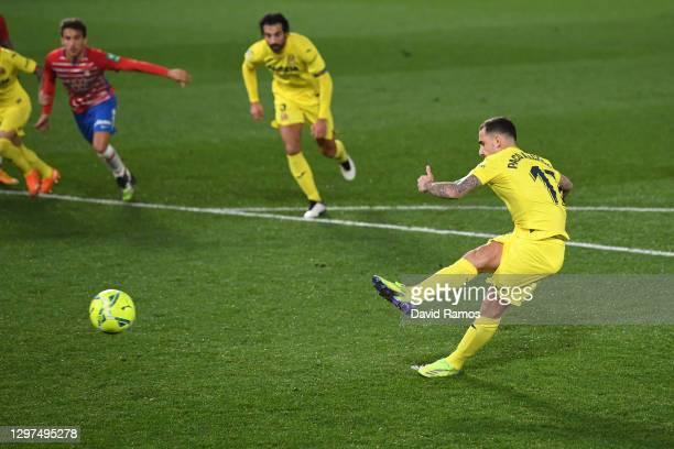 Paco Alcacer of Villarreal misses a penalty during the La Liga Santander match between Villarreal CF and Granada CF at Estadio de la Ceramica on...