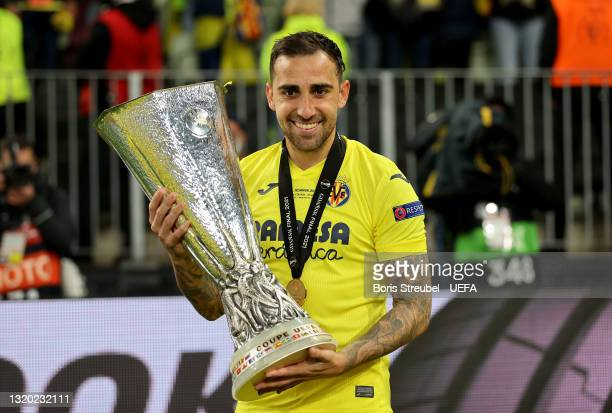 Paco Alcacer of Villarreal poses with the UEFA Europa League trophy following the UEFA Europa League Final between Villarreal CF and Manchester...