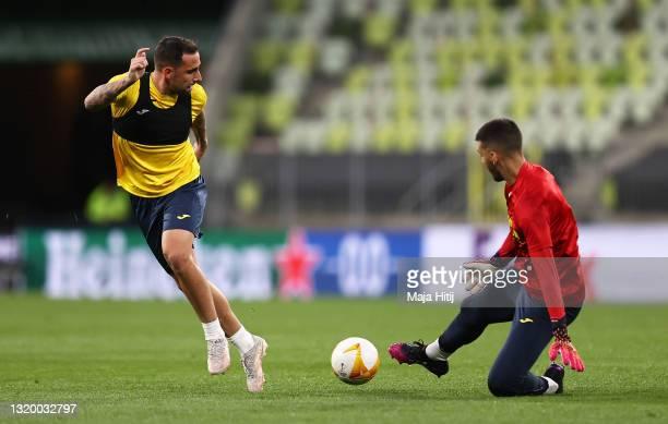 Paco Alcacer of Villarreal shoots during the Villarreal CF Training Session ahead of the UEFA Europa League Final between Villarreal CF and...