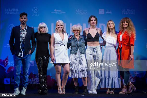 Paco Arrojo Angy Fernandez Luca Gil Alicia Orozco Andrea Guasch Nerea Rodriguez and Erika Bleda attend the 'La Llamada' photocall at Lara Theater on...