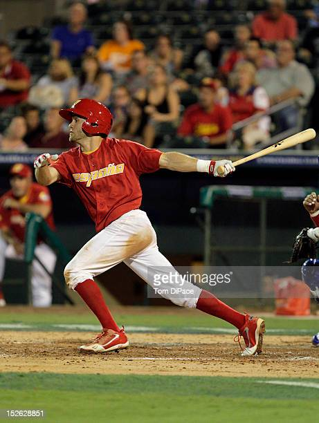 Paco Figueroa of Team Spain bats against Team France during game 2 of the Qualifying Round of the 2013 World Baseball Classic at Roger Dean Stadium...