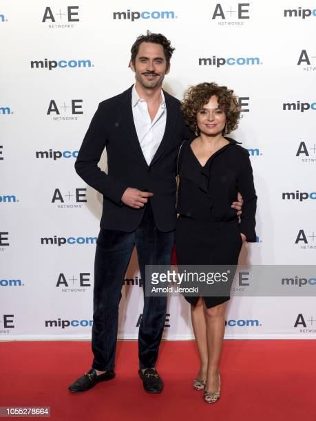 Paco Leon and Anna Rodriguez Costa attends the opening ceremony red carpet of the MIPCOM 2018 on October 15 2018 in Cannes France
