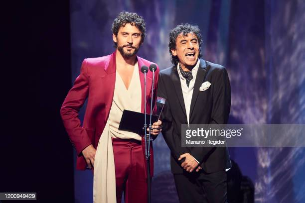 Paco Leon and Tomasito present the Best Flamenco Album Odeon Award at Royal Theater on January 20 2020 in Madrid Spain