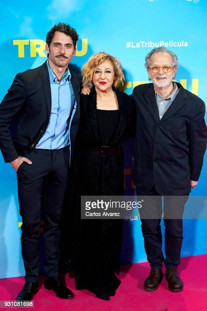 Paco Leon Carmen Machi and Fernando Colomo attend 'La Tribu' premiere at the Capitol cinema on March 12 2018 in Madrid Spain