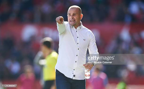 Paco Lopez of Levante UD gives instructions to his player during the La Liga match between Sevilla FC and Levante UD at Estadio Ramon Sanchez Pizjuan...