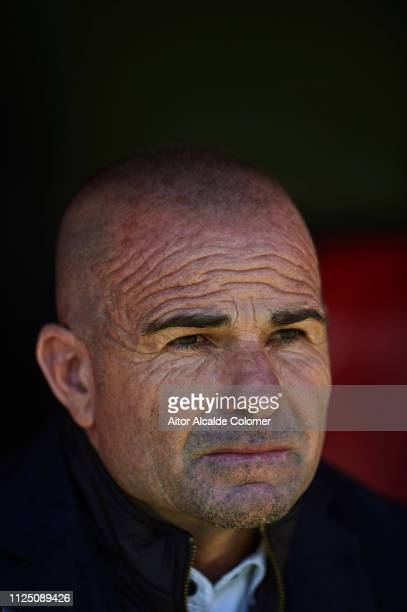 Paco Lopez of Levante UD looks on during the La Liga match between Sevilla FC and Levante UD at Estadio Ramon Sanchez Pizjuan on January 26 2019 in...