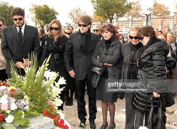 Paco Marso jr Diana Patricia Marso Manuel Marso an unkown person Briggitte Louise Romhild and Concha Velasco attend the funeral for theater producer...