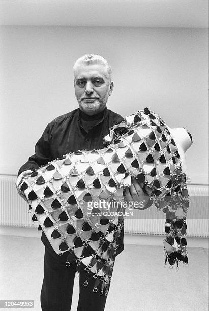 Paco Rabanne and his fetish dress in October 1990