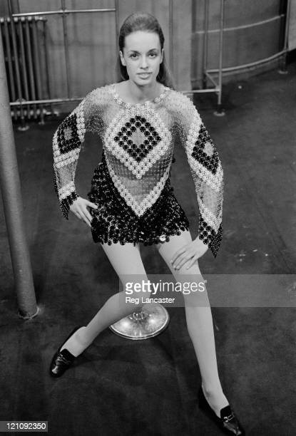 A Paco Rabanne evening dress constructed from hundreds of black and white plastic discs 1969