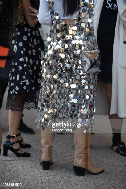 Paco Rabanne sequin outfit details during Paris Fashion Week Spring/Summer 2019 on September 27 2018 in Paris France