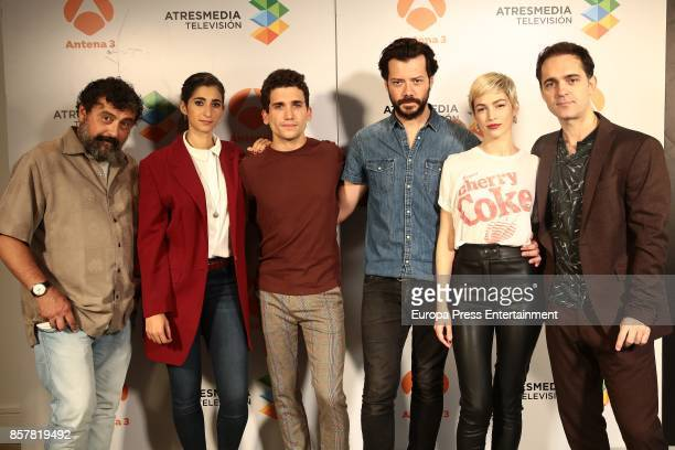 Paco Tous Alba Flores Jaime Lorente Alvaro Morte Ursula Corbero and Pedro Alonso attend the presentation of the tv serie 'La Casa de papel' on...