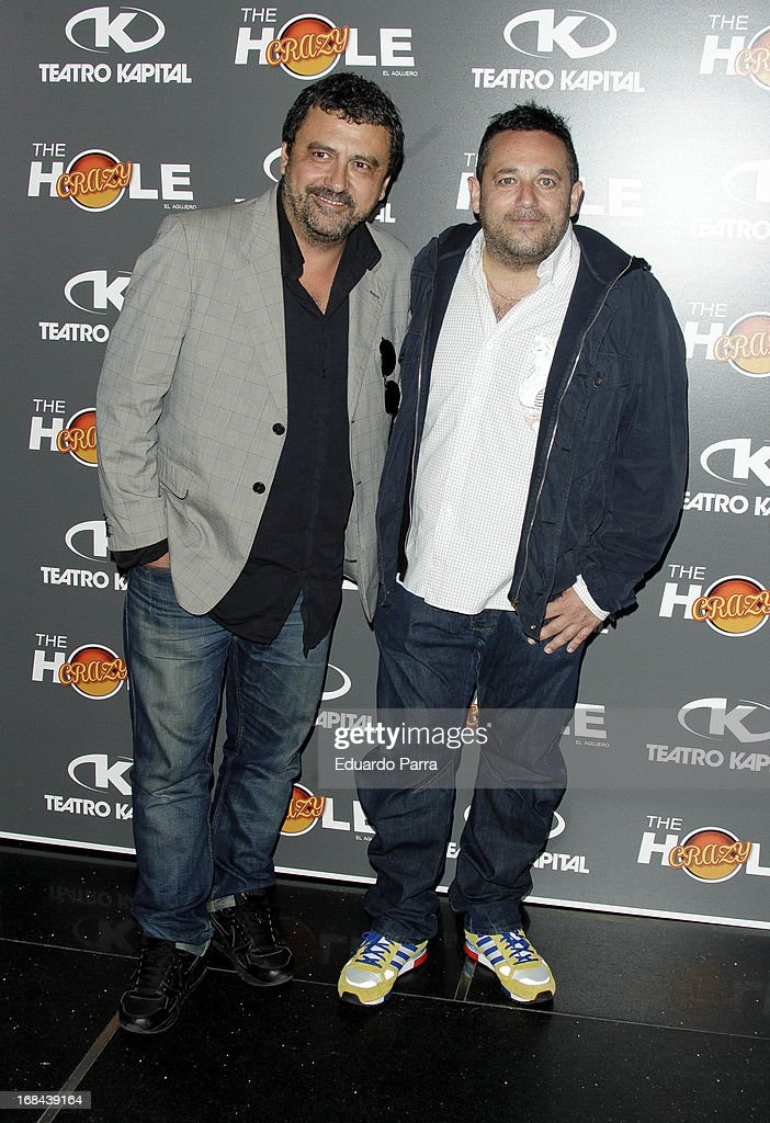 Paco Tous (L) and Pepon Nieto attend 'The crazy hole' premiere photocall at Kapital theatre on May 9, 2013 in Madrid, Spain.