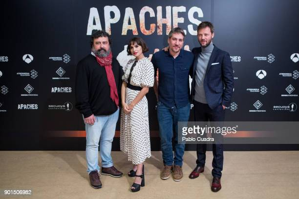 Paco Tous Veronica Echegui Alberto Ammann and Eloy Azorin attend the 'Apaches' photocall at Atresmedia Studios on January 5 2018 in Madrid Spain