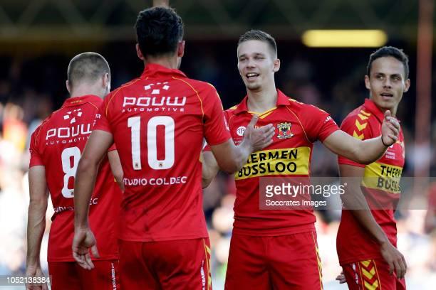 Paco van Moorsel of Go Ahead Eagles celebrates 10 with Istvan Bakx of Go Ahead Eagles Roland Baas of Go Ahead Eagles Jaroslav Navratil of Go Ahead...