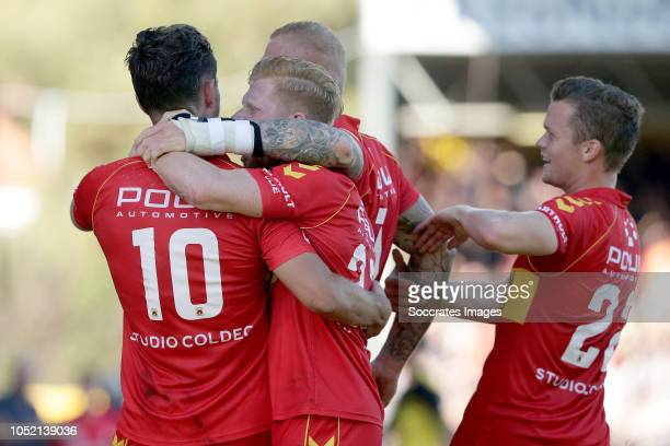 Paco van Moorsel of Go Ahead Eagles celebrates 10 with Richard van der Venne of Go Ahead Eagles Thomas Verheydt of Go Ahead Eagles Pieter Langedijk...