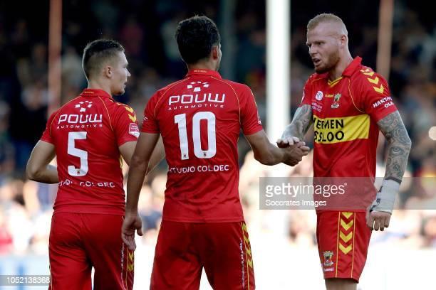 Paco van Moorsel of Go Ahead Eagles celebrates 10 with Roland Baas of Go Ahead Eagles Thomas Verheydt of Go Ahead Eagles during the Dutch Keuken...