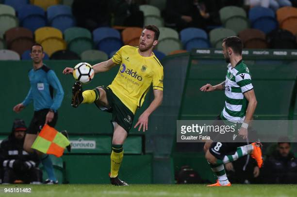 Pacos de Ferreira defender Miguel Vieira from Portugal controls the ball during the Primeira Liga match between Sporting CP and FC Pacos de Ferreira...