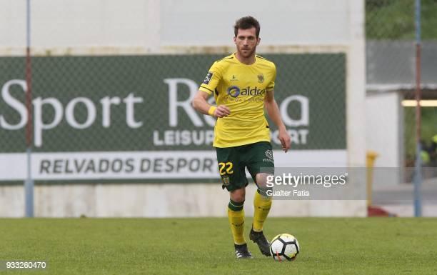 Pacos de Ferreira defender Miguel Vieira from Portugal in action during the Primeira Liga match between GD Estoril Praia and FC Pacos de Ferreira at...