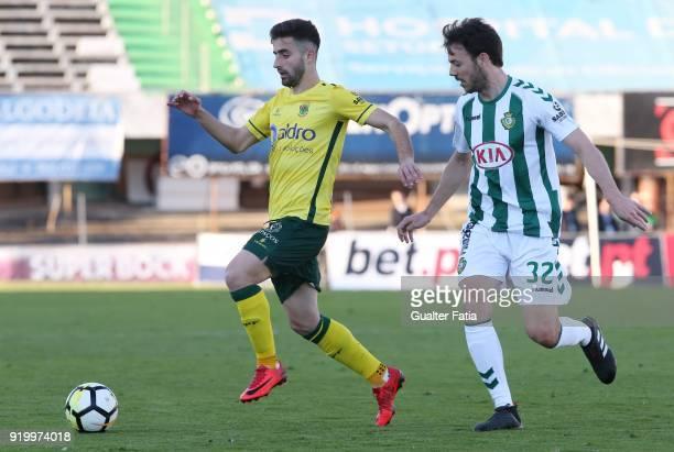 Pacos de Ferreira forward Antonio Xavier from Portugal with Vitoria Setubal defender Yohan Tavares from Portugal in action during the Primeira Liga...