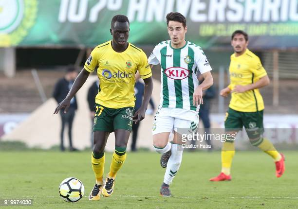 Pacos de Ferreira forward Awer Mabil from Australia with Vitoria Setubal midfielder Joao Teixeira from Portugal in action during the Primeira Liga...