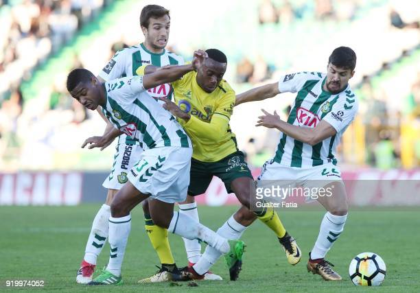 Pacos de Ferreira forward Bruno Leite from Portugal in action during the Primeira Liga match between Vitoria Setubal and Pacos de Ferreira at Estadio...